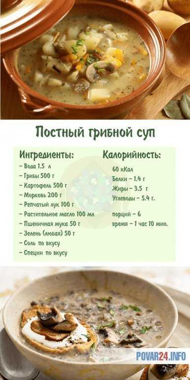 Рецепт постного грибного супа